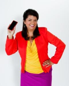 Lori Gama holding her mobile phone